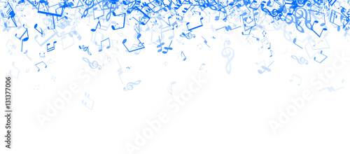 Fotografie, Obraz  White musical banner with notes.