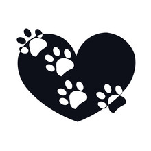 Paw Print With Black White Heart Shape