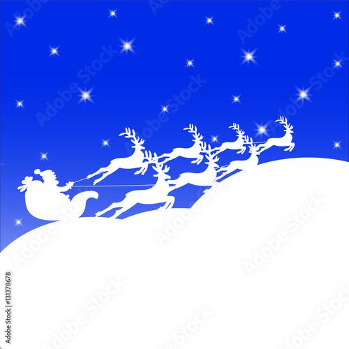 Deurstickers Vogels op boom Santa in a sleigh on snow.Christmas background.