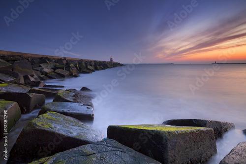 Valokuvatapetti Sunset over sea in IJmuiden, The Netherlands