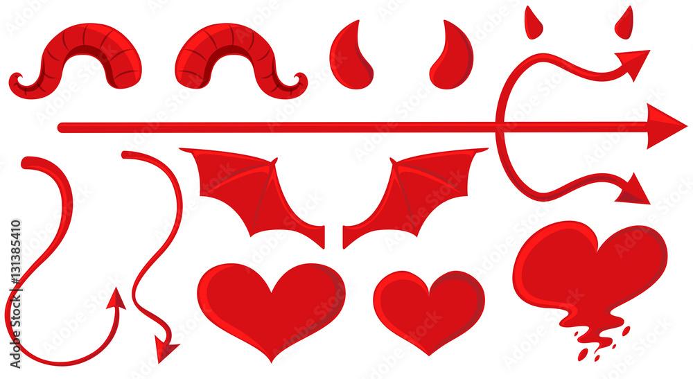 Fototapeta Angel and devil elements in red