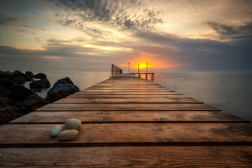 Sea sunrise at the Black Sea coast near Varna, Bulgaria