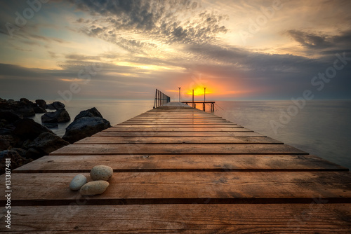 Foto op Canvas Beige Sea sunrise at the Black Sea coast near Varna, Bulgaria