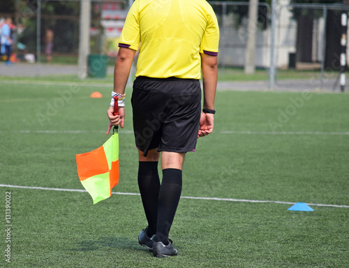 Fotografiet  Soccer referee on the field with a flag