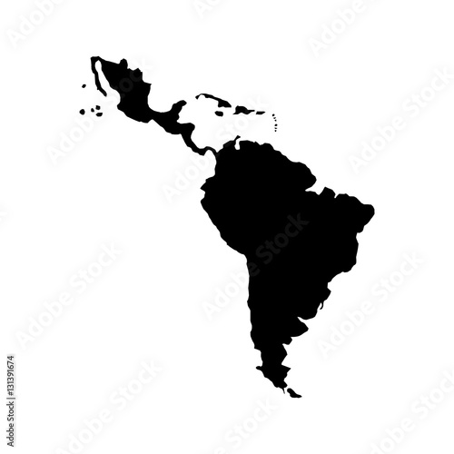 silhouette of latin america map icon over white background. vector illustration