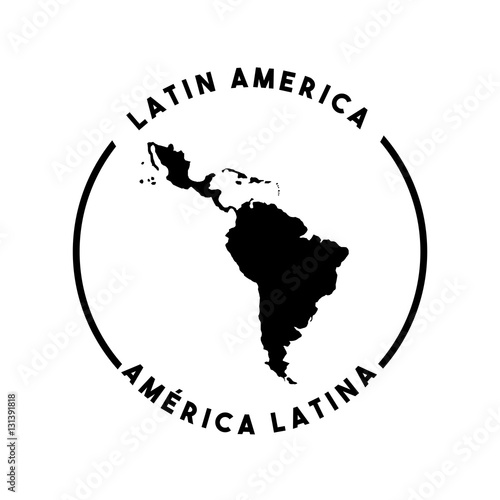 silhouette of latin america map icon over white background Wallpaper Mural