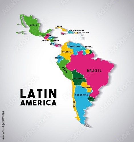Map of Latin America with the countries demarcated in different colors Canvas Print