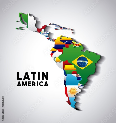 Photographie  Map of Latin America with the flags of countries