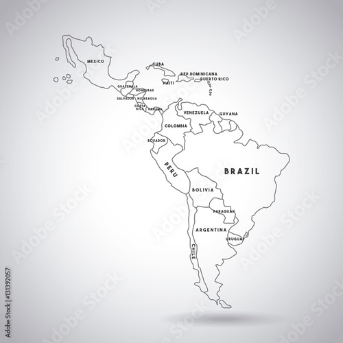 Latin America Map With The Names Of The Countries Icon Over White