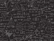Physical vector seamless texture with formulas, calculations, figures, handwritten equations and tasks solutions, chalk writings on grey board effect