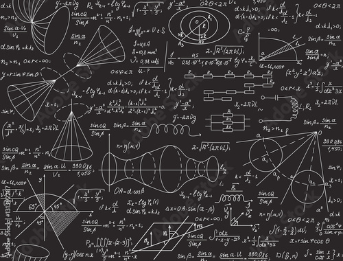 Fotografia  Physical vector seamless texture with formulas, calculations, figures, handwritt