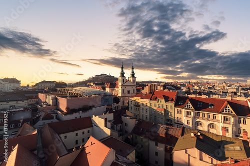 фотография  Evening over the city of Brno, Morawia, Czech Republic