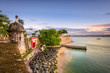 canvas print picture - San Juan, Puerto Rico Caribbean coast along Paseo de la Princesa.