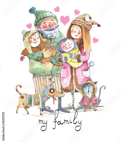 Spoed Fotobehang Voor kinderen Family, illustration, watercolor, seamless pattern