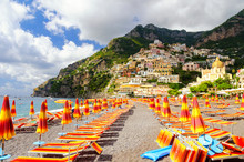 View On Beach In Positano On Amalfi Coast, Campania, Italy