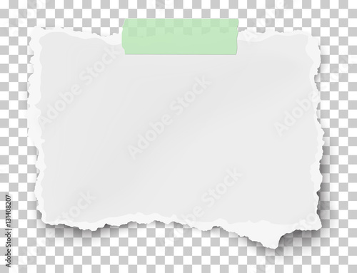 Photo Vector ragged fragment of white paper on sticky adhesive tape