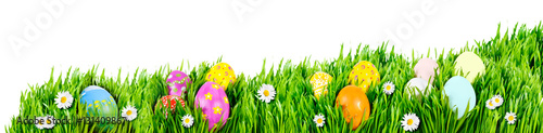 Photo  Nests of decorated Easter eggs, nestled in grass nests