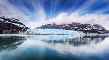 Panoramic View Of The Face Of Margarie Glacier In Glacier Bay National Park, Alaska