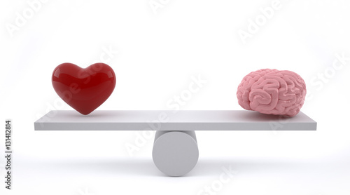 Fényképezés  Brain and heart on a balance scale.