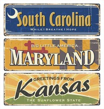 USA State.Vintage Tin Sign Collection With America State. All States. Retro Souvenirs Or Old Paper Postcard Templates On Rust Background. States Of America. South Carolina. Maryland. Kansas.