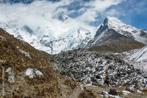 Fotografie, Obraz  Island peak (6189 m) and Lhotse peak (8516 m) (view from Chhukhung valley) - Nep