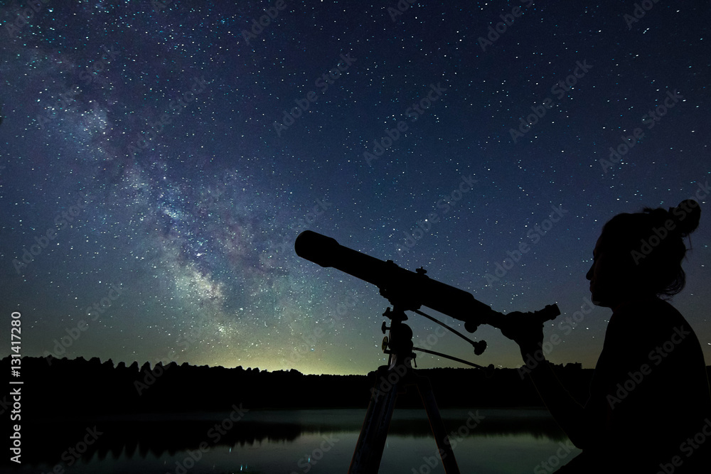 Fototapety, obrazy: Woman with telescope watching the stars. Stargazing woman and ni