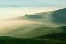 Tuscany Landscape Near The Town Of Pienza At Sunrise, Morning Fog, Val D'Orcia, Tuscany, Italy