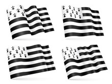 3D Breton Waving Flags Set Isolated On White Background
