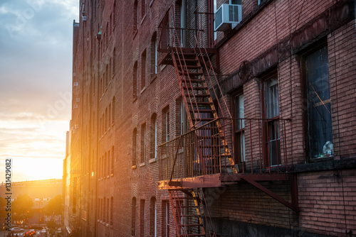 Canvas-taulu Fire Escape stairs on the building wall in New York City