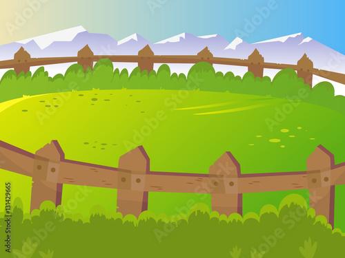 Poster Lime groen Summer, rural landscape. Lawn for pets.
