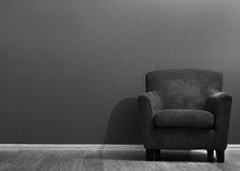 Comfortable Grey Armchair In The Room