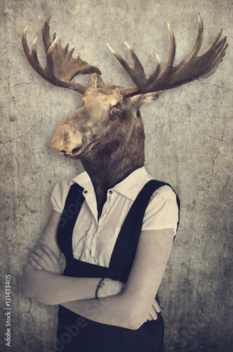 Garden Poster Hipster Animals Moose in clothes. Concept graphic in vintage style.
