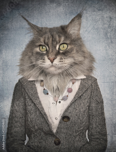 Garden Poster Hipster Animals Cat in clothes. Concept graphic in vintage style.