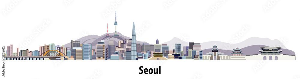 Photo  abstract vector skyline of Seoul
