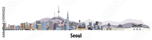 abstract vector skyline of Seoul Canvas Print