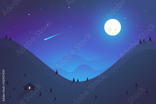 Flat design. Night mountains landscape