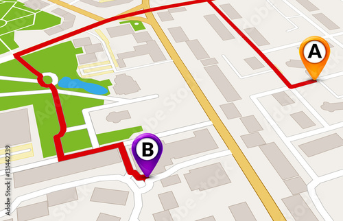 Plakat Perspektywa city map Koncepcja usługi GPS. 3D szablon projektu trasy mapę miasta