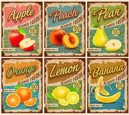 fruits vintage banner