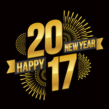 Vector Illustration Of Celebration Fireworks For Happy New Year 2017 Season With Gold Theme.
