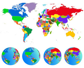 Fototapeta na wymiar World map, Globes with countries. Planet Earth. Vector