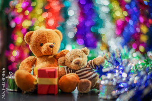 Fotografie, Obraz  two bear dolls and decorate of new year festival, select focus the one bigger