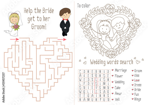 Wedding Activity Book For Kids The Maze Heart Coloring Pages Children Flower