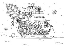 Vector Illustration Of Christmas, Santa's Sleigh Full Of Presents. Doodle Drawing. Handmade. Coloring Book Anti Stress For Adults. Black And White.