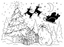Doodle Illustration Of Santa In A Sleigh With Reindeer. New Year. Vector. Coloring Page Anti Stress For Adults And Children. Black And White.