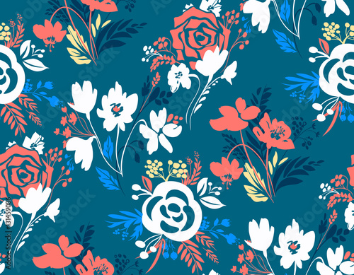 Cotton fabric Vector floral seamless pattern. Botanical background. Flowers repeat design. Cute composition with abstract blooming elements. Flower template for banner, wrapping paper, posters, prints, cover.
