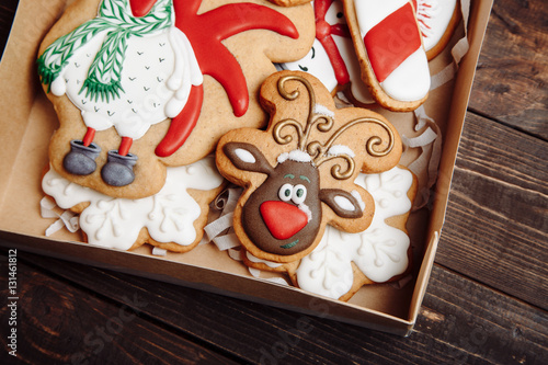 Photo  Box with Christmas homemade gingerbread cookies