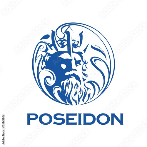 Carta da parati greek god poseidon illustration