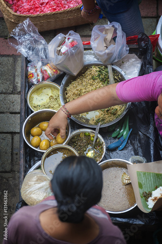 Street Food At The Ubud Bali Traditional Public Market Delicious Street Food Eggs Noodles Rice And