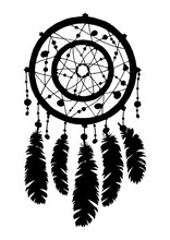 Dream Catcher Silhouette In Black Color Isolated On White Background