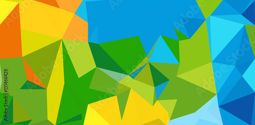Summer background. Polygonal colorful brazilian banner. Fotobehang